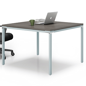 Modern Square Conference Table with Metal Base