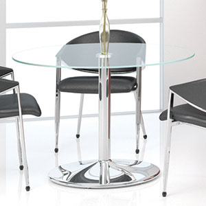 Round Glass Conference Table with High Polished Chrome Base