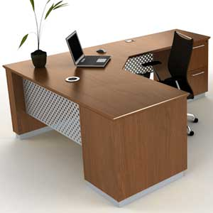 Modern L-Shaped Executive Desk with Metal & Wood