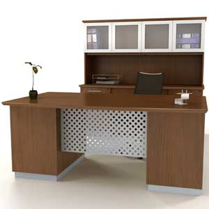 Modern Executive Desk with Metal & Wood, Optional Credenza