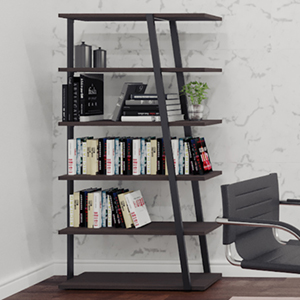 Modern Office Bookcases with Metal Frame & Open Back