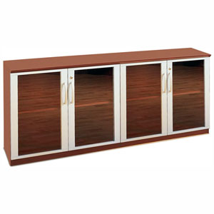 Credenza Cabinet with Glass Doors, Modern Office Cabinet