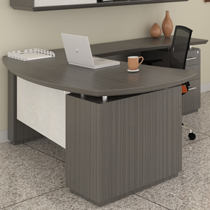 Modern L-Shaped Executive Desk with Optional Hutch & Storage