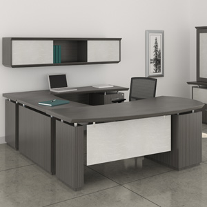 Modern U-Shaped Executive Desk with Optional Hutch & Cabinet