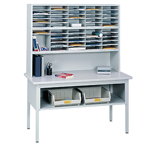 Office Mail Sorter with Metal Frame & Laminate Tabletop, Office Mailroom Station Organizer
