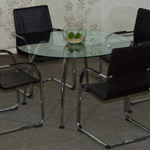 Round Glass Conference Table with Chairs Set, Glass Office Table
