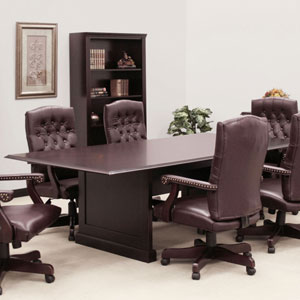 Boardroom Table and Chairs Set - Oxblood or Black Upholstery