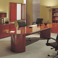 6ft - 12ft Racetrack Conference Table, Hardwood Meeting Table