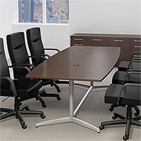 6ft - 10ft Boat Shaped Modern Conference Table with Metal Base