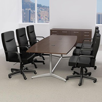 6ft - 10ft Modern Conference Table & Chairs Set with Metal Base