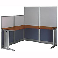 Office Workstation with Panels L-Shaped Modern Cubicle Workstation