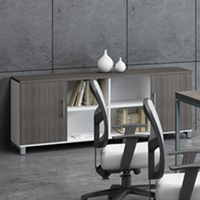 Modern Credenza Office Cabinet - Driftwood & White with Silver Metal Base