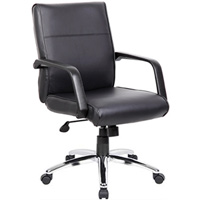 Conference Chair, Modern Leather Mid-Back with Chrome Base