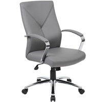 Modern Executive Grey Leather Conference Office Chair