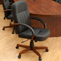 Conference Chairs, Leather Office Chairs w Cherry or Mahogany Wood