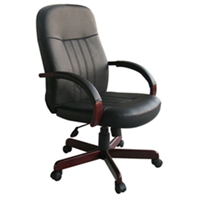 Conference Chairs, Leather Office Chairs w Mahogany Wood