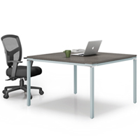 Modern Square Conference Table and Chairs Set with Metal Base