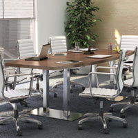 8ft - 20ft Modern Conference Table and Chairs Set with Metal Bases