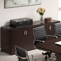 Modern 4 Door Storage Credenza Cabinet With Lock