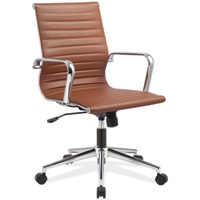 Modern Conference Chair, Mid Back Chrome Base Office Chair