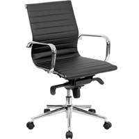 Modern Black Conference Chair, Mid Back Office Chair
