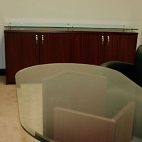 Glass Top Credenza Cabinet, Modern Credenza with Glass Top