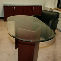 5ft - 8ft Glass Conference Table, Glass Meeting Table for Office