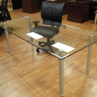 6ft - 8ft Glass Conference Table with a Clear Glass Top