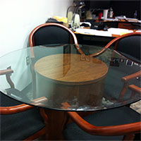 Round Glass Conference Table & Chairs Set with Matching Wood