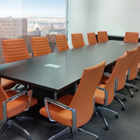 Espresso Conference Room Table with Modern Square Bases