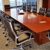 7ft - 16ft Modern Conference Table with Square Bases, Meeting Room Table