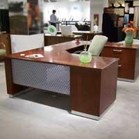 Modern U-Shaped Executive Desk with Metal & Wood