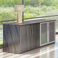 Modern Low Wall Credenza, Glass and Wood Doors