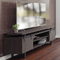 Modern Office Credenza with Metal Base & Sliding Doors