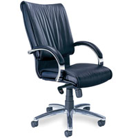 Executive Conference Chairs, Black Leather, Chrome Base & Arms