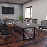 8 foot - 16 foot Modern Conference Room Table with Metal Base & Metal Accents