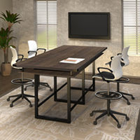 8 foot - 16 foot Modern Conference Room Table, Standing Height with Metal Base & Metal Accents