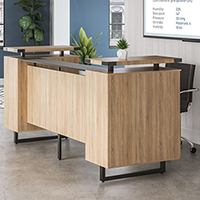 Modern Receptionist Station with Glass Top Counter & Metal - Reception Room Desk