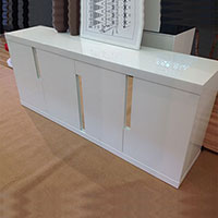 Modern Credenza Cabinet, White Lacquered High Gloss