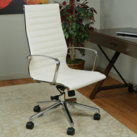 High Back White Ribbed Conference Chair, Modern Meeting Room Chair