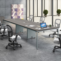 8ft - 12ft Modern Conference Table with Metal Base & Optional Power Data Modules