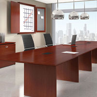 6ft - 24ft Modern Conference Room Table, 16ft with Optional Power Modules