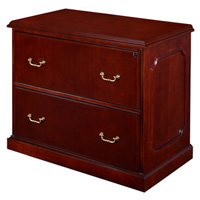 Traditional Lateral File Drawer Cabinet, Mahogany Wood Credenza