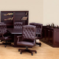 Conference Room Package - 8' or 10' Table, Boardroom Chairs, Credenza & 2 Bookcases
