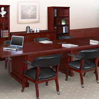 Traditional Conference Room Table and Chairs Set, Meeting Table Set