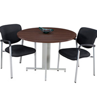 Modern Round Conference Table with Metal Base