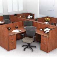 Office Workstation Cubicle Desk L-Shaped with Wooden Panels