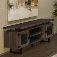 Modern Office Credenza with Metal Base & Glass Doors
