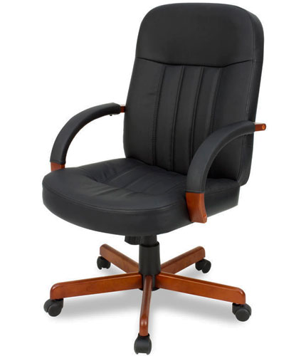 CONFERENCE CHAIR Leather And Solid Wood Office Meeting Room Boardroom With Wh