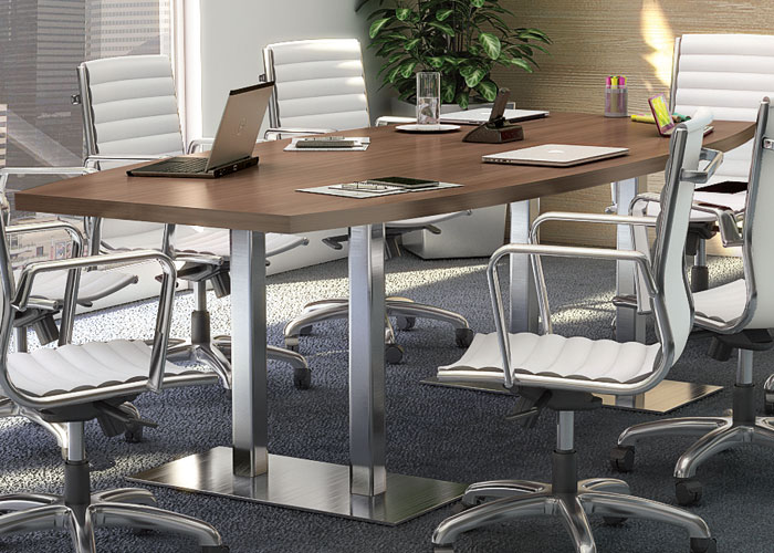 Modern Conference Table Set & 8ft - 20ft Modern Conference Table and Chairs Set with Metal Bases ...